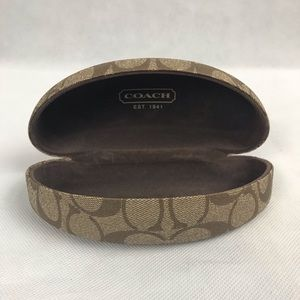 COACH Monogrammed Hard Sunglasses Case in Tan